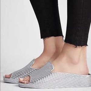Jeffrey Campbell | Silver Slip On Mesh Sandals